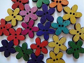 Galantéria - Drevené gombíčky kvetinky - 2392439