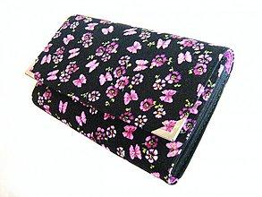 Peňaženky - Fialkoví motýlci - i na karty 17 cm - 2392951