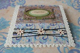"""Papiernictvo - Svadobné blahoželanie - """"Together"""" krémovo modré - 2396046"""