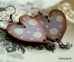 Náušnice - Lila a bodky - 2420114