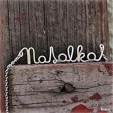 Náhrdelníky - Náhrdelník s menom z postriebreného drôtu: 6-8 písmen (Natálka) - 2426078