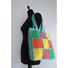 Veľké tašky - Farebná karovaná taška na plece - 2426372