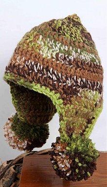 Detské čiapky - zeleno - hnedá s brmbolcami. - 2432292