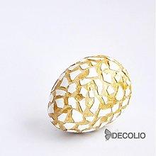 Dekorácie - AKCIA 20% Veľkonočné dekoračné vajíčko - krémová, zlatá - 2440641