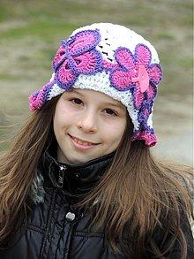 Detské čiapky - Biely letný motýľkový klobúčik - 2440841