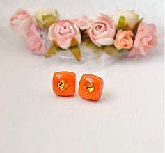 Náušnice - Oranžové kocôčky - 2440989