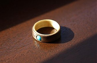 Prstene - Drevený prsteň Orech+Smrek+Tyrkys - 2460002
