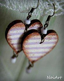 Náušnice - lavender hearts - 2462188