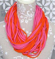 Šály - špagetky oranžovo-ružové - 2464056
