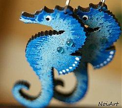 Náušnice - morský koník modrý - 2465801