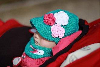 Detské čiapky - Tyrkysový setík - 2471693