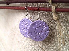 Náušnice - fialkové motýlikové - 2471911