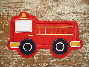Materiál ručne robený - fire truck( aplikácia- našivka) - 2477292