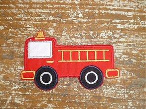 Materiál ručne robený - fire truck( aplikácia- našivka) malá - 2477323