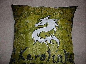 Úžitkový textil - Hodvábny vankúš Biely drak - 247819