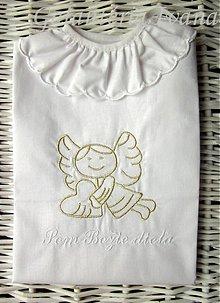 Detské oblečenie - Vyšívaná košieľka na krst K11 bielo-zlatá - 2490834