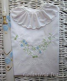Detské oblečenie - Vyšívaná košieľka na krst K09 modrá - 2490983