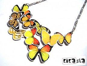 Náhrdelníky - Zbierka žltých motýľov - 2492794