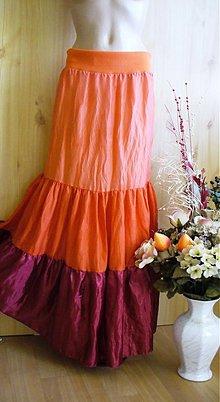 Sukne - oranžovo-bordová hodvábna - 2493265