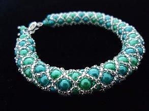 Náramky - Perličkový náramok zelenkavo-tyrkysový - 2498845