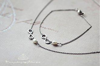 Sady šperkov - sada z chirurgické oceli s perlou - infinity - 2501970