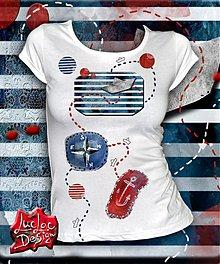 Tričká - Biele tričko Na cestách s Pepkom námorníkom - 2513794