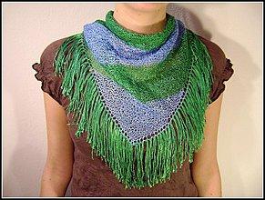 Šatky - Modro zelená prúžkovaná šatka - 252467