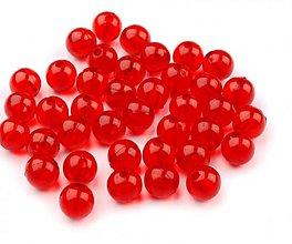 Korálky - Plastové guličky 8 mm - 50 ks (červená) - 2529141