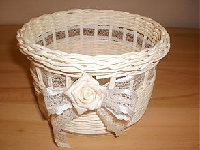Košíky - Snehobiely s ružou a mašličkou - 2531434