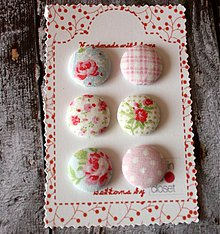 Materiál ručne robený - Sada gombíkov vintage v ružovej 19 mm - 2546383