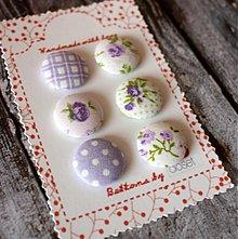 Materiál ručne robený - Sada gombíkov 6 ks vintage vo fialovej 19 mm - 2546461
