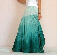 Sukne - Odraz mořské hladiny, dlouhá hedvábná sukně - 2567043