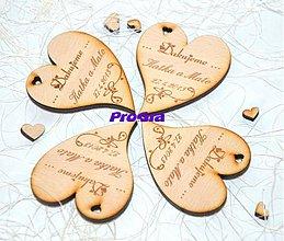 Darčeky pre svadobčanov - Drevená magnetka - Minisrdiečko Ďakujeme 2C - Akciová cena - 2569962