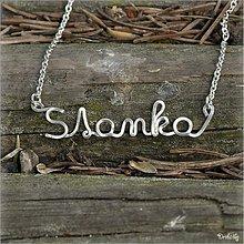 Náhrdelníky - Náhrdelník s menom z postriebreného drôtu: 6-8 písmen (Stanka) - 2571986