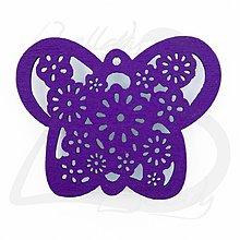 Komponenty - VYR2764, Motýľ Drevený FIALOVÝ /1ks - 2574191