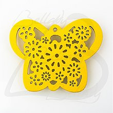 Polotovary - VYR2764, Motýľ Drevený ŽLTÝ /1ks - 2574212