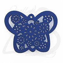 Polotovary - VYR2764, Motýľ Drevený MODRÝ /1ks - 2574222