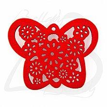 Polotovary - VYR2764, Motýľ Drevený ČERVENÝ /1ks - 2574225