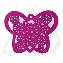 Polotovary - VYR2764, Motýľ Drevený MAGENTA /1ks - 2574239