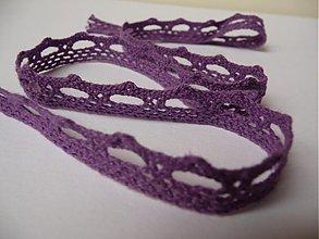 Galantéria - bavlnená čipka - vlnky - fialová - 2575620