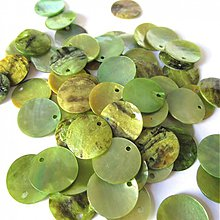 Minerály - Perleť farebná / kruh 15mm (Light Green) - 2576294