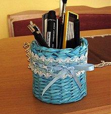 Košíky - modrásek na ceruzky a perá - 2585234