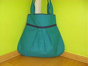 Veľké tašky - Tyrkysová s fialovou bodočkou 2 - 2593451
