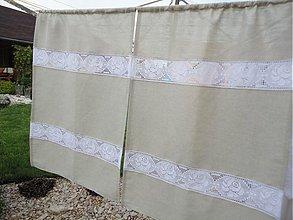 Úžitkový textil - Ľanové záclonky s čipkou - 2594326