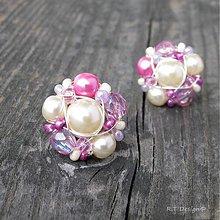 Náušnice - Náušničky Pink Cream... - 2596546