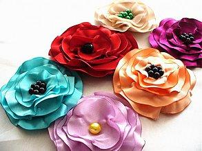 Odznaky/Brošne - saténové kvety - 2605843