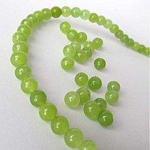 Minerály - Jadeit korálka / 6mm / balenie 10ks (Viva Green) - 2610729
