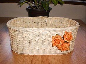 Košíky - Košíček oválny s ružičkou - 2614686