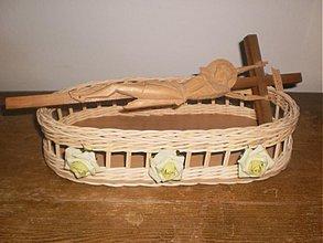 Košíky - Oválny košík so zelenkavými ružičkami - 2614785