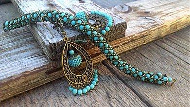Sady šperkov - Sada šitého náramku a náušníc - Turquoise and bronze - 2617722